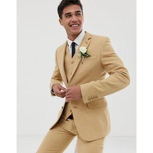 ASOS DESIGN wedding suit in stone wool blend